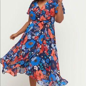 💐 Lane Bryant Faux Wrap Chiffon Midi Dress